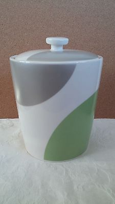 Starbucks Coffee Canister Jar Modern Contemporary 2005 Green Silver Rubber seal