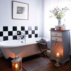 Pale grey bathroom with freestanding bath | Bathroom decorating | Country Homes & Interiors | Housetohome.co.uk