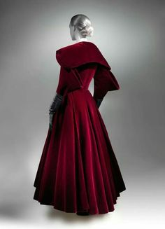 Charles James, evening coat, red velvet, 1949