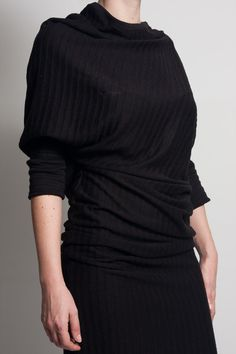 Fasada f/1509 black wool striped asymmetric short sleeved dress
