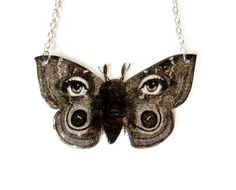 Surreal Butterfly Moth Necklace Fornasetti Black and White Eyes Avant Garde Vintage Illustration Statement Jewelry.