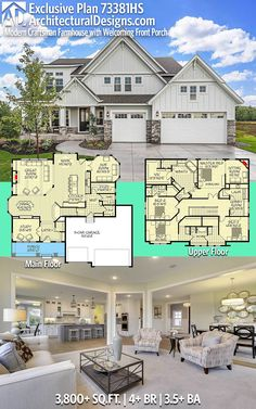 WAY to big for us but I like some of the architectural elements of the house  Architectural Designs Exclusive Modern Farmhouse House Plan 73381HS has 4+ beds and 3.5+ baths and 3,800+ square feet of heated living space PLUS optional 1,500+ SqFt Lower Level.