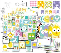Stort gratis påskpysselset med bingo, memory, etiketter, dekorationer, mallar mm.   #påsk #påskpyssel #påsklekar #pyssel