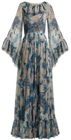 Luisa Beccaria Floral Print Ruffled Georgette Gown - Womens - Blue Print Source by karanful dress Abaya Fashion, Muslim Fashion, Fashion Dresses, Party Wear Dresses, Women's Dresses, Long Dresses, Dresses Online, Stylish Dresses, Casual Dresses