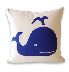Blue Whale Cotton and Felt Pillow Cover by ekofabrik on Etsy,