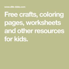 Free crafts, coloring pages, worksheets and other resources for kids. Bible Study Crafts, Youth Games, Church Activities, Church Crafts, Religious Education, Sunday School Lessons, Worksheets, Children, Kids