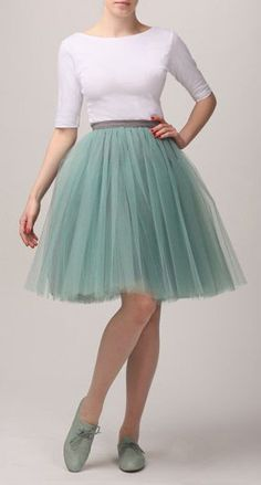 Grey mint tutu skirt, Handmade tulle