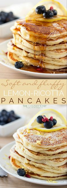 Lemon Ricotta Pancakes - Soft and fluffy ricotta pancakes infused with great lemon zest flavor. perfect for a special occasion breakfast, but easy enough to make every day! (egg casserole with bacon easy recipes) Breakfast Desayunos, Breakfast Dishes, Breakfast Recipes, Breakfast Ideas, Brunch Recipes, Breakfast Healthy, Yummy Pancake Recipe, Yummy Food, Lemon Ricotta Pancakes