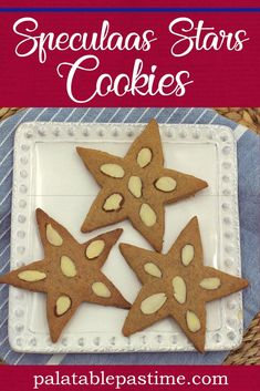 Speculaas Stars cookies baked with almonds and spices, are traditionally eaten on December (St. Nicholas Day) in the Netherlands. Speculoos Cookies, Butter Pecan Cookies, Spritz Cookies, Sugar Cookie Bars, Molasses Cookies, Crinkle Cookies, Chocolate Cookies, Cookie Cups, Star Cookies