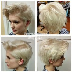 HOW TO: Cute Platinum Pearl Pixie Mary Ott (Mary Toumeh), of Bethlehem, Pennsylvania loves to cut, c Edgy Haircuts, Short Layered Haircuts, Pixie Hairstyles, Summer Hairstyles, Short Hair Cuts, Cool Hairstyles, Short Hair Styles, Hairstyle Short, Updo Hairstyle