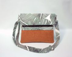 Small crossbody bag / Foldover clutch bag / Palm leaves fabric handbag / Fold over clutch bag with removable strap / Pochette