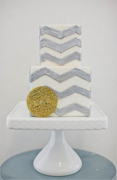 chevron wedding cake, see more here http://www.weddingchicks.com/2013/08/29/cake-toppers/