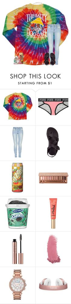 """idk what i think ab you anymore tbh"" by theblonde07 ❤ liked on Polyvore featuring Victoria's Secret, ONLY, Chaco, MANGO, Gucci, Michael Kors and Kendra Scott"