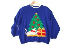 Vintage 80s Kitty & Christmas Tree Tacky Ugly Christmas Sweater for Cat Ladies Women's Plus Size 3X $35