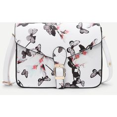 SheIn(sheinside) Flower Printed Crossbody Bag (450 RUB) ❤ liked on Polyvore featuring bags, handbags, shoulder bags, white, floral handbags, white cross body handbags, flower print handbags, white crossbody handbag and crossbody shoulder bag