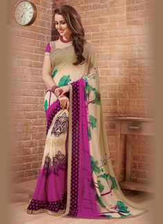 Astonishing Print Work Multi Colour Casual Saree