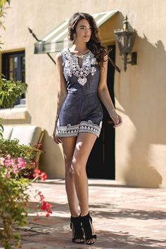 ARK & CO EMBELLISHED DENIM ROMPER
