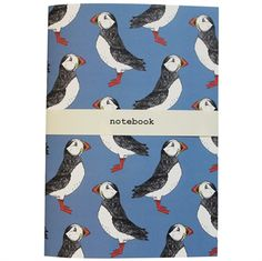 Puffin Billy Notebook £5 #puffin #blue #sea #nautical #stationery #notebook #madeintheuk