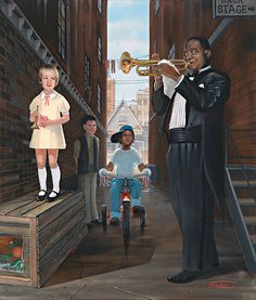WHAT A WONDERFUL WORLD by Artist Ronald Suchiu Three small children happen to catch an impromptu concert by the great Louis Armstrong at a back stage door of his concert. Little did anyone know that would inspire them to becoming great horn players themselves Myles Davis, Maynard Ferguson and Ingrid Jensen. Check out so many great art pieces at suchiuart.com.