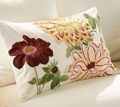 Dahlia Embroidered Lumbar Pillow Cover #potterybarn