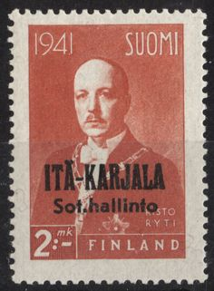 "East Karelia 1942 2mk Orange ""Risto Ryti"" black overprint p:14 [Facit 18, Mi:FI-EK 18, Yt:FI-EK 24] Postage Stamp Art, Stamp Collecting, Finland, Colonial, Europe, Orange, Black, Door Bells, Postage Stamps"