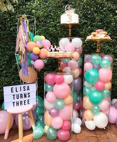 """659 Likes, 14 Comments - Prop & Event Hire Sydney (@elegant_tea_time) on Instagram: """"Pastel birthday celebrations for Elisa's 3rd birthday.  Styling by @divinedesignsbydanna  Plinths &…"""""""
