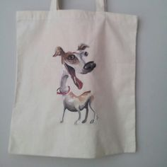 Jack Russell terrier hand painted on cotton bag.  Available at www.etsy.com/shop/bynaja
