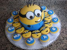 Minions cake and cupcakes