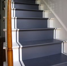 11 wooden stairs show inspiring ways to dress up your plain, lacking interest, ordinary staircase design and create a beautiful, colorful and impressive centerpiece for your interior decorating or home staging for sale Painted Staircases, Painted Stairs, Painting Wooden Stairs, Painted Wood, Refinish Stairs, Staircase Runner, Stair Runners, Deco Cool, Staircase Makeover