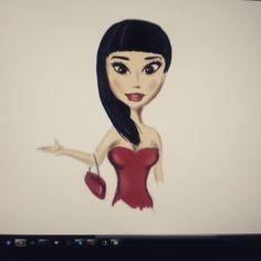 digital sketch girl in red