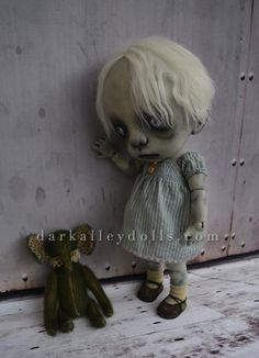 BJD Toddler Girl with a Teddy Elephant. Gothic Art Doll.