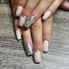 Matte nude nails with silver sparkle accents. Square gel nails. Matte nails. Fun neutral nails. Long gel nails. Nails by Ailesh