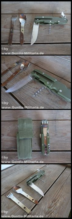 eating cutlery, 3 pieces  practical eating cutlery hinged knife fork spoon dose/bottle opener nylon case with belt loop and belt-clammy luggage measure: 15 x 5 x 3 cm color: olive condition: new manufacturer: MFH