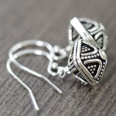 Short Sterling Silver bali earrings
