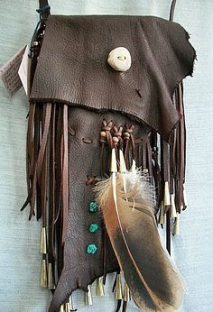 Tribal Pouch Buckskin Medicine Bag Dancing 3 by aboriginalsbykate, $75.00