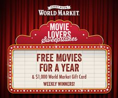Weekly Winners! Celebrate the movie awards season and enter @worldmarket 's Movie Lovers Sweepstakes for a chance to win FREE MOVIES FOR A YEAR & a $1,000 World Market Gift Card. Sweepstakes ends 2/21/15.