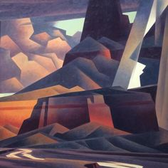 Ed Mell, at #Tacomaartmuseum titled Rain and Runoff, 2003. That #geometric #cubism looks so measured and simple up close, but overall somehow skillfully captures a southwest storm as it both approaches and recedes simultaneously, soaking the arid desert ground that can't absorb it fast enough.