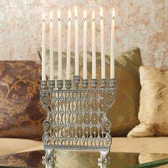 Swarovski Clear Crystal Menorah, for the most elegant of tables.
