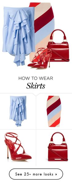 """color block striped skirt"" by rvazquez on Polyvore featuring River Island, E L L E R Y, Jimmy Choo and Sergio Rossi"