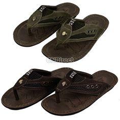 Fashion Men's Casual Leather Male Sandals Flip-flops Shoes 2 Colors