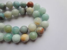 12mm Genuine Amazonite Faceted Round Semi Precious Gemstone Beads Half Strand | eBay