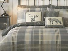 Tartan Check Quilt Duvet Cover Bedding Set Country Christmas Cotton Stag New UK