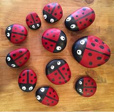 Ladybird stones. Painted pebbles to brighten up the garden. Acrylic paints and clear exterior lacquer to make them waterproof.