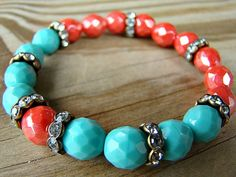 Coral and Turquoise Stretch Bracelet  Coral by BeJeweledByCandi, $34.00
