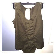 Charlotte Russe army green studded open back tank Adorable army green tissue tank with bronze studding. Drape back fit with large keyhole opening. Size M Charlotte Russe Tops Tank Tops