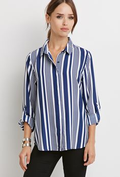 Striped Chiffon Blouse | Forever 21 - 2000094854