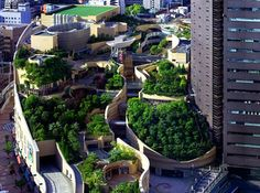 "Japan's Namba Parks Has an 8 Level Roof Garden with Waterfalls | Inhabitat  ""Namba Parks, a massive retail and office compund in Osaka, Japan, totally blasts away the boring stereotype of what a mall is supposed to look like. Built in the footprint of the old Osaka baseball stadium, it has an eight level rooftop garden that spans several city blocks and features tree groves, rock clusters, cliffs and canyons, lawns, streams, waterfalls, ponds and even space to grow veggies!&rdqu..."