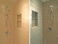 """Shadow Box By using the depth of the framed wall, most shower enclosures are capable of including a recessed pocket to hold shampoo, soap, your rubber ducky, etc. We like the detail because it's clean, modern and lends well to the philosophy that everything should have a place to be put away. There's typically about 14"""" of clear space between the vertical wall studs –which is enough space to sneak one of these in without changing the framing around."""
