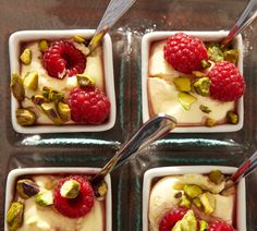 An updated classic: Top vanilla ice cream with pistachios and raspberries