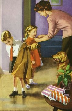 Harry Wingfield-Putting on coats - The Party. Vintage Images, Vintage Posters, Vintage Art, Vintage Paintings, Book Illustrations, Illustration Art, Vintage Housewife, Ladybird Books, Family Images